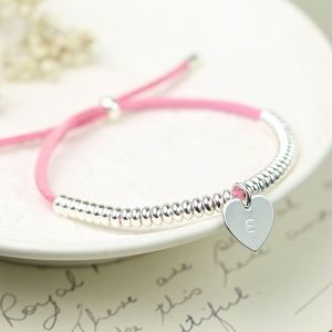 Mini Suede Links Bracelet With Silver Initial - bracelets & bangles