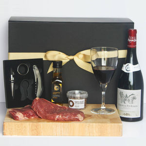 Steak And Wine Gift Box - wine connoisseur