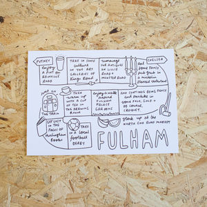 Fulham Area Landmarks Illustration Print - view all sale items