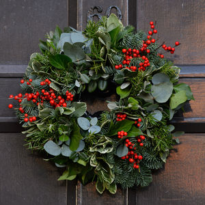 10% Off Woodland Fresh Foliage And Berry Door Wreath - wreaths