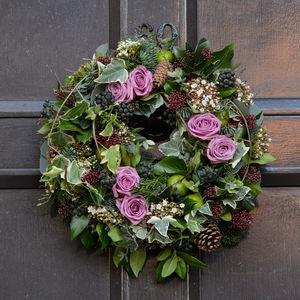 Blush Rose And Apple Woodland Wreath - wreaths