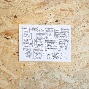 Angel Area Landmarks Illustration Print - posters & prints