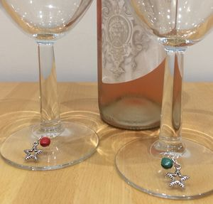 Set Of Four Star Wine Glass Charms