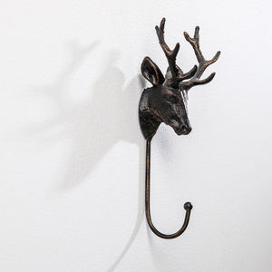 Stag Head Hook Solid Metal Brass Effect - hooks, pegs & clips