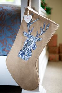 Personalised Vintage Paisley Blue Reindeer Stocking