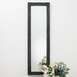 Full Lengh Mirror In Antique Matt Black Distressed - mirrors