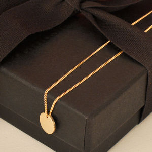 Simple Solid Gold Disc Necklace