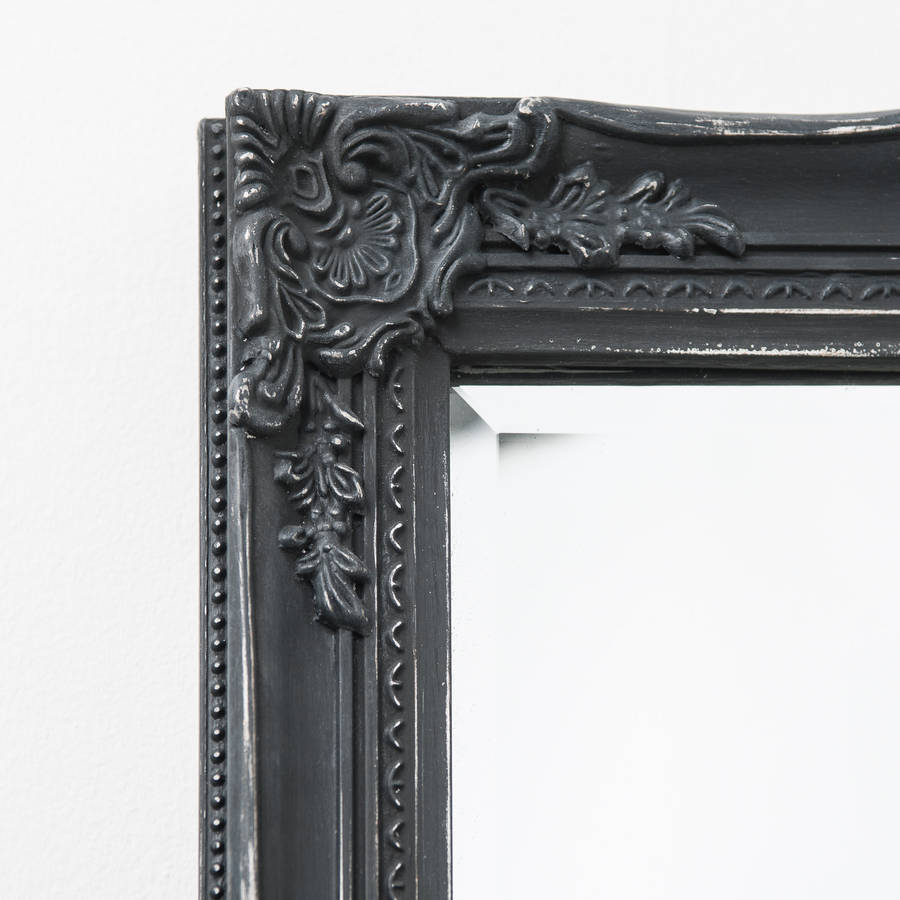 full lengh mirror in antique matt black distressed by hand crafted mirrors | notonthehighstreet.com