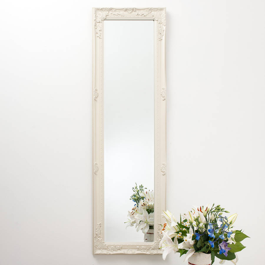 Full Length Ornate Vintage Mirror Cream By Hand Crafted
