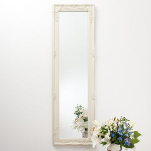 Full Length Ornate Vintage Mirror Cream - mirrors