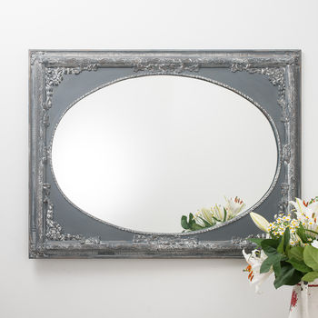 vintage grey ornate dutch oval mirror large by hand crafted mirrors | notonthehighstreet.com
