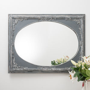 Vintage Grey Ornate Dutch Oval Mirror Large - mirrors