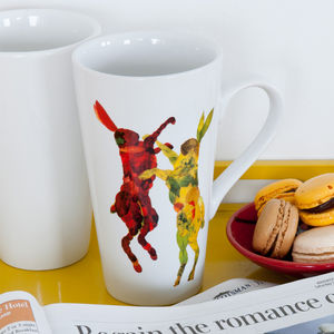 Boxing Hares Fine Bone China Cone Mug - dining room