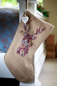 Personalised Vintage Red Paisley Reindeer Xmas Stocking