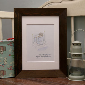 Baby Boy Christening Gift Illustration Praying Boy