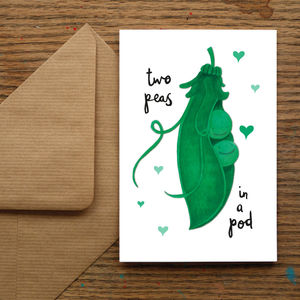 'Two Peas In A Pod' Card - seasonal cards