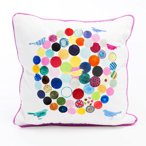 Circles And Birds Cushion