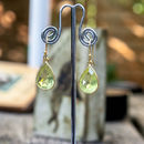 Lemon Quartz Teardrop Gold Earrings