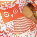 Screen Printed Orange Or Pink Owl Tea Towel
