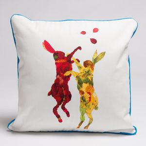 Boxing Hares Cushion - cushions