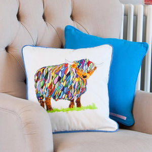 Highland Cow Cushion - bedroom