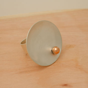 Contemporary Sterling Silver And Copper Sun Ring