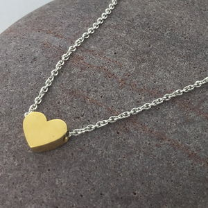 Yellow Gold Chunky Heart Necklace