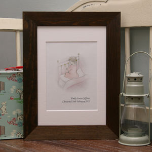 Baby Christening Gift Illustrated Praying Girl Print - children's pictures & paintings