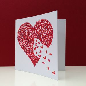 Valentine's Day Butterfly Red Heart Card - personalised cards
