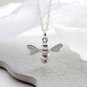 Silver And Ruby Bee Necklace - gifts under £50 for her