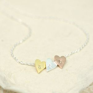 Personalised Three Little Hearts Necklace - gifts for her