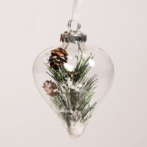 Heart Shaped Bauble With Winter Cone Decoration