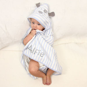 Personalised Hooded Patch Dog Baby Blanket - bath time