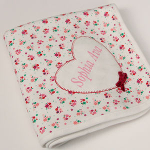 Personalised Heart Appliqué Ditsy Print Blanket - soft furnishings & accessories