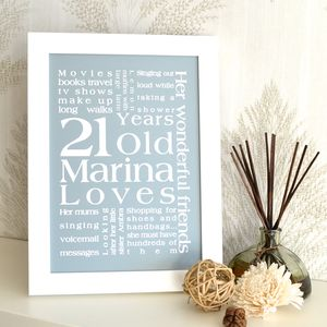Personalised Birthday Print - shop by subject