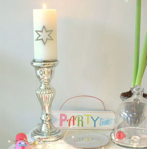 Tall Mercury Glass Candlestick - christmas lighting