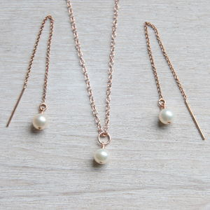 Rose Gold And Aa Pearls Jewellery Set