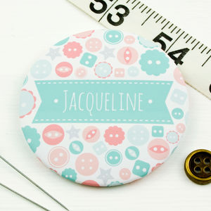 Personalised Button Pocket Mirror - gifts for her