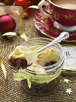 Four Boozy Christmas Cupcakes In Jars