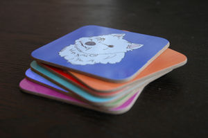 Set Of Six Westie Coasters - placemats & coasters