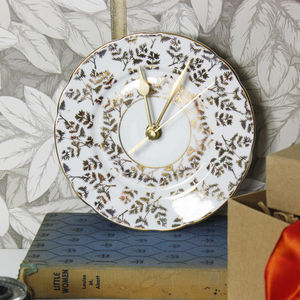 Gold Vintage Ceramic Plate Wall Clock - clocks