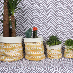 Dot Dash Canvas Storage Pots