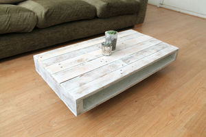 Pallet Coffee Table On Wheels With A Whitewash Finsih - furniture