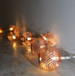 Copper Mesh Fairy Lights - feeling cosy - hygge home ideas