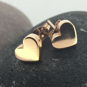 Rose Gold Chunky Heart Earrings - earrings