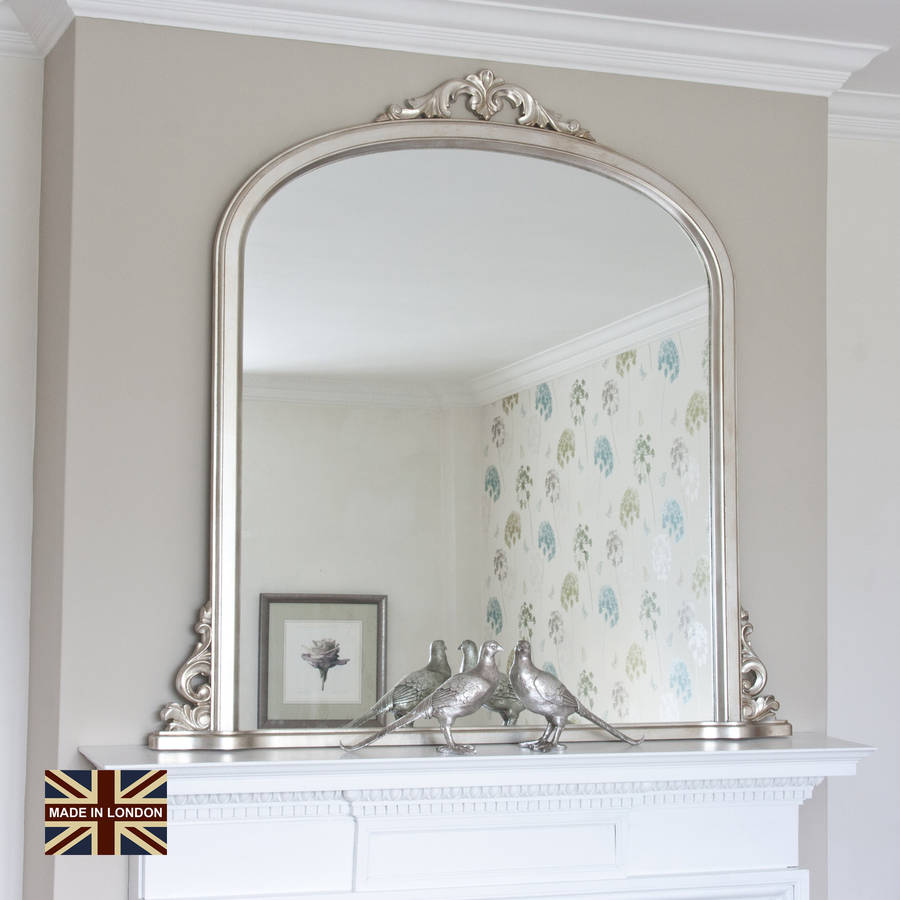 Victoria overmantel antique silver or black by decorative for Large silver decorative mirrors