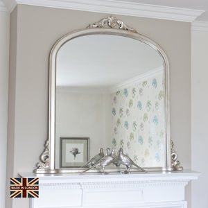 Victoria Antiqued Silver Overmantel Mirror - bedroom