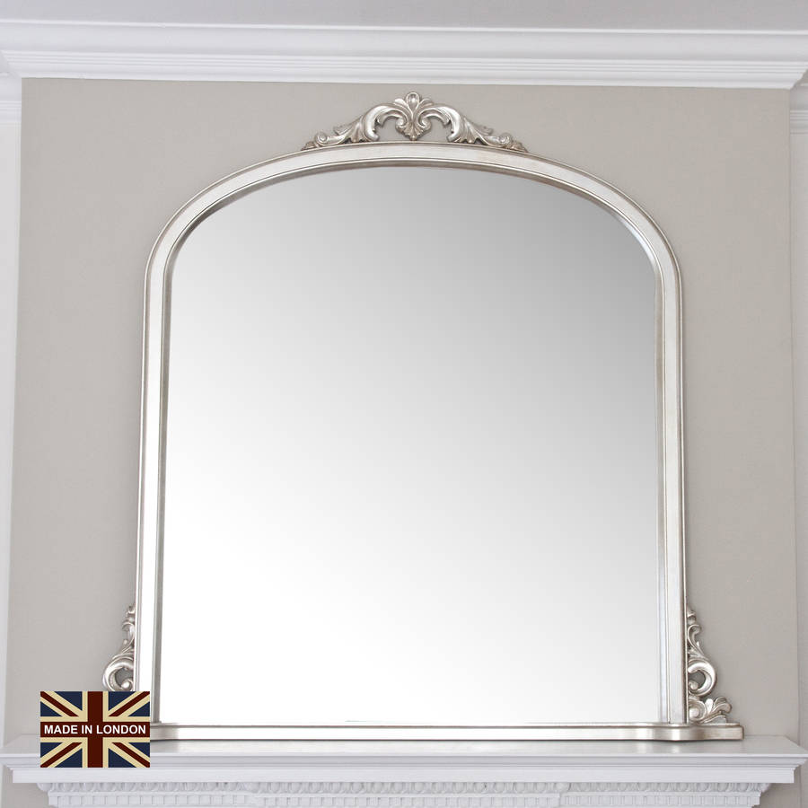 Victoria overmantel antique silver or black by decorative for Overmantle mirror