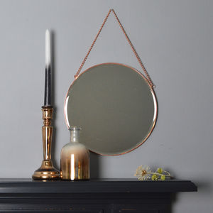 Round Copper Mirror With Chain - mirrors