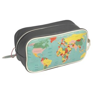 Retro Style World Map Toiletry / Wash Bag